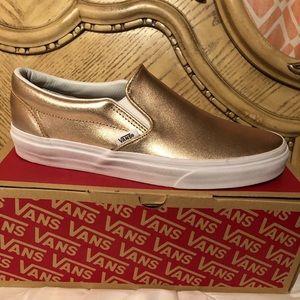 Vans Unisex gold slip on